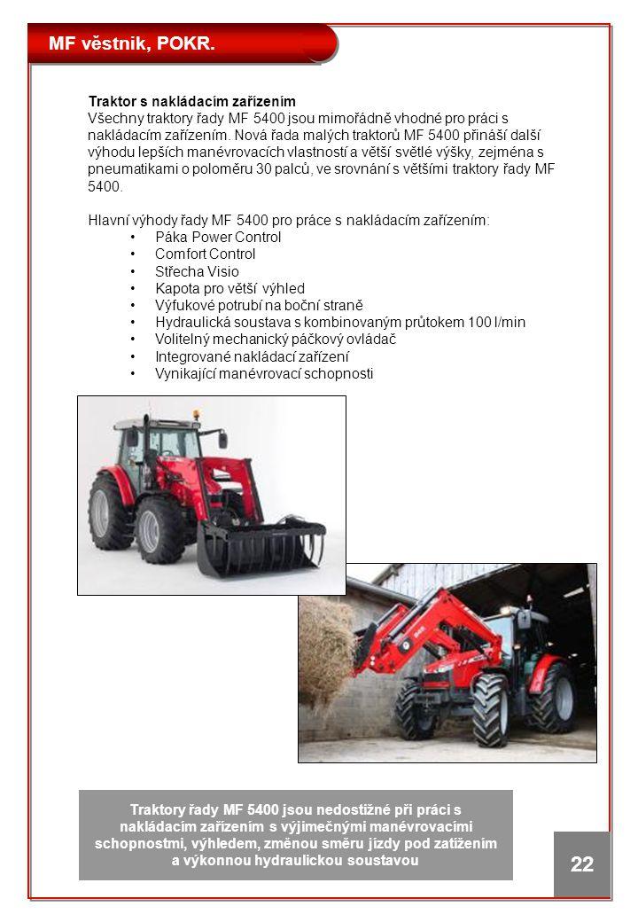 MF věstnik, POKR. 22 Traktor s nakládacím zařízením Všechny traktory řady MF 5400 jsou mimořádně vhodné pro práci s nakládacím zařízením. Nová řada ma