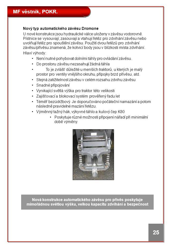 MF věstnik, POKR. 25 Nový typ automatického závěsu Dromone U nové konstrukce jsou hydraulické válce uloženy v závěsu vodorovně. Pístnice se vysouvají,