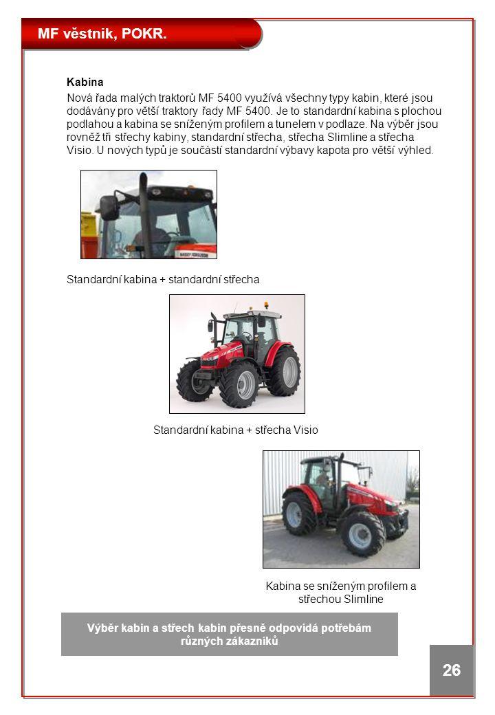 MF věstnik, POKR. 26 Kabina Nová řada malých traktorů MF 5400 využívá všechny typy kabin, které jsou dodávány pro větší traktory řady MF 5400. Je to s