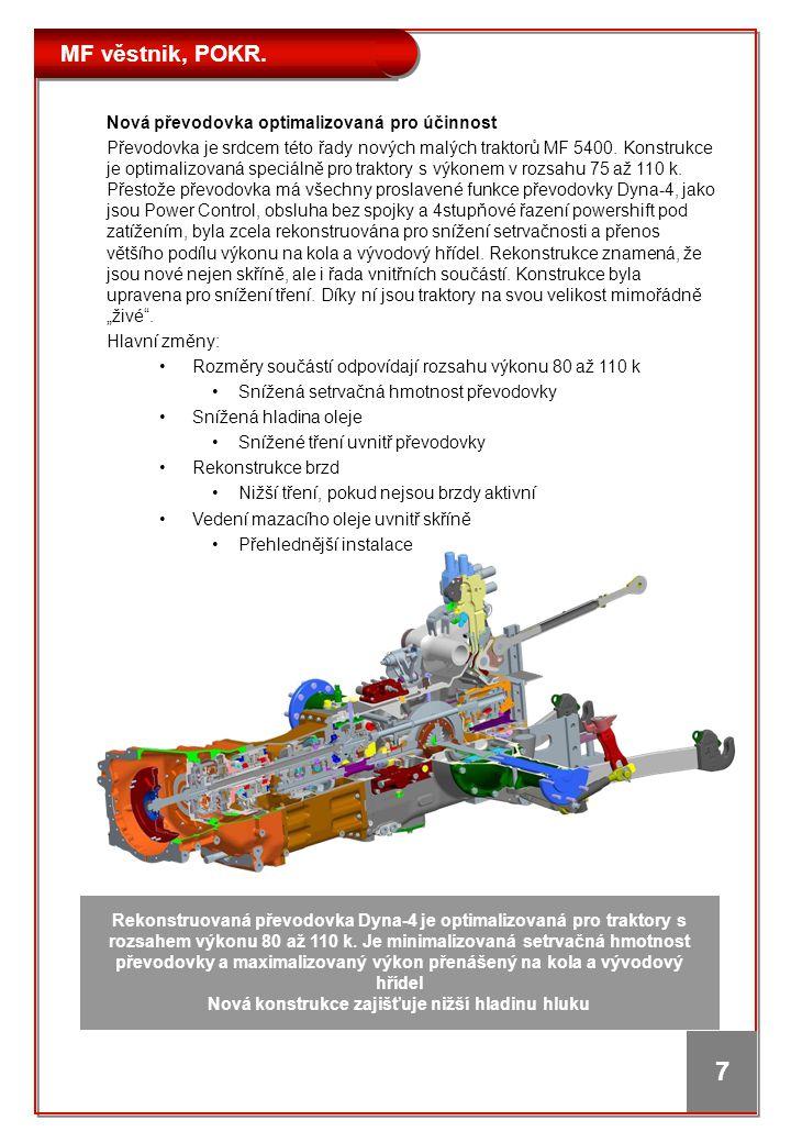 MF věstnik, POKR. 7 Nová převodovka optimalizovaná pro účinnost Převodovka je srdcem této řady nových malých traktorů MF 5400. Konstrukce je optimaliz