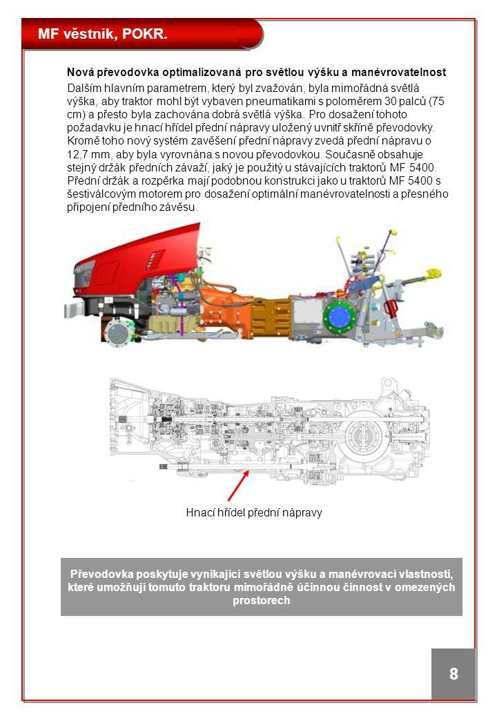 MF věstnik, POKR. 8 Nová převodovka optimalizovaná pro světlou výšku a manévrovatelnost Dalším hlavním parametrem, který byl zvažován, byla mimořádná