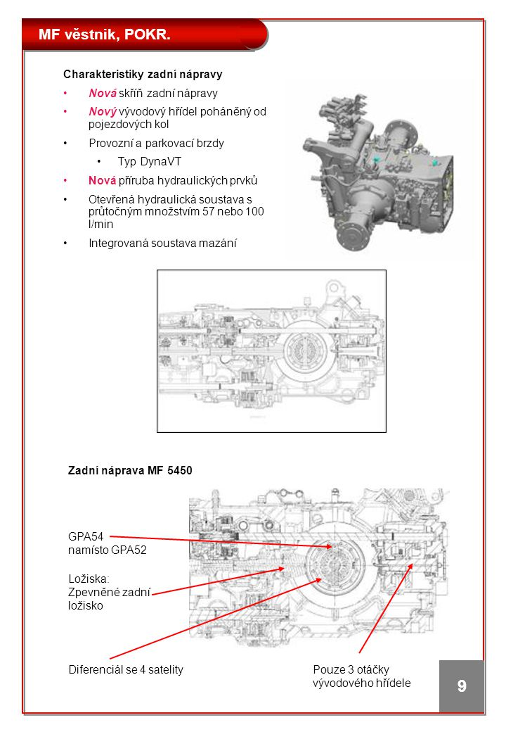 MF věstnik, POKR. 9 Charakteristiky zadní nápravy •Nová skříň zadní nápravy •Nový vývodový hřídel poháněný od pojezdových kol •Provozní a parkovací br