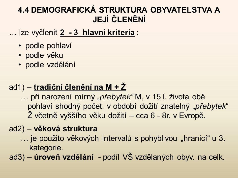 4.4 DEMOGRAFICKÁ STRUKTURA OBYVATELSTVA A JEJÍ ČLENĚNÍ … lze vyčlenit 2 - 3 hlavní kriteria : •podle pohlaví •podle věku •podle vzdělání ad1) – tradič