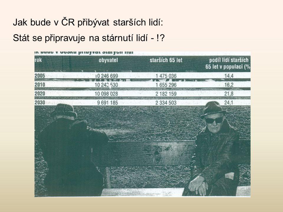 Jak bude v ČR přibývat starších lidí: Stát se připravuje na stárnutí lidí - !?