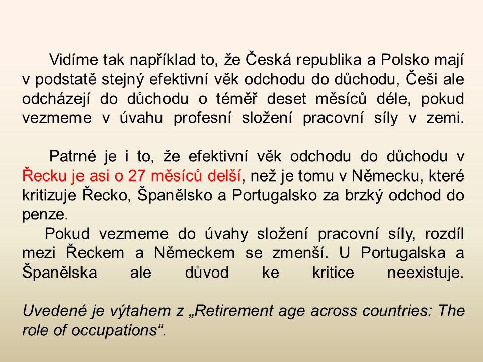 Vidíme tak například to, že Česká republika a Polsko mají v podstatě stejný efektivní věk odchodu do důchodu, Češi ale odcházejí do důchodu o téměř de