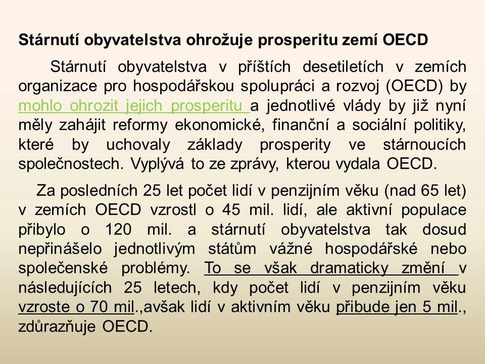 Stárnutí obyvatelstva ohrožuje prosperitu zemí OECD Stárnutí obyvatelstva v příštích desetiletích v zemích organizace pro hospodářskou spolupráci a ro