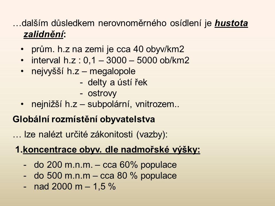 …dalším důsledkem nerovnoměrného osídlení je hustota zalidnění: •prům. h.z na zemi je cca 40 obyv/km2 •interval h.z : 0,1 – 3000 – 5000 ob/km2 •nejvyš