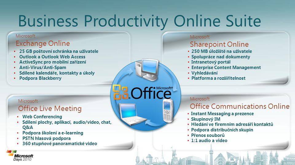 Business Productivity Online Suite • 25 GB poštovní schránka na uživatele • Outlook a Outlook Web Access • ActiveSync pro mobilní zařízení • Anti-Viru