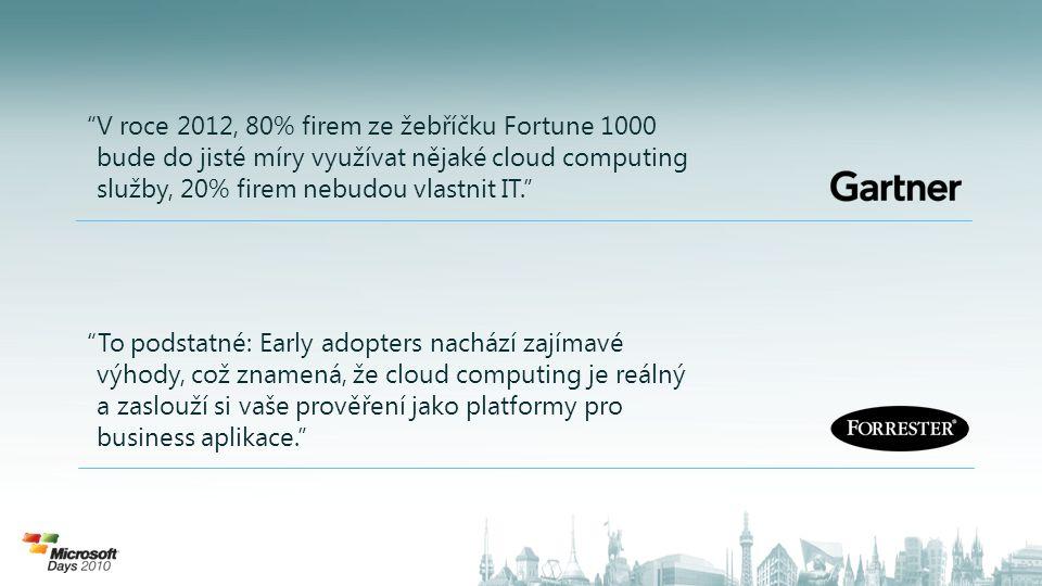 FYZICKÁ: • Microsoft datacentra s nejnovějšími bezpečnostními procesy • Redundantní napájení od oddělených poskytovatelů, baterií a záložních diesel agregátů, klimatizace a ochrana proti požáru Logická: • Kódování a autentikace úložiště • Po drátu přes zabezpečený HTTPS • Windows Azure běží na modifikovaném Windows 2008 Server, optimalizovaném pro cloud přístup bez admin přístupu k hostům nebo aplikacím • Aplikace nebo uživatelé neupdatují OS KONTINUITA: • Datová centra v různých geo-lokacích • Uživatelé si mohou vybrat místo hostingu, jedno místo nebo geo-distribuované • Úložiště je vícekrát replikováno • Fabric je navržen pro zálohování a obnovení z checkpoints COMPLIANCE & CERTIFIKACE: • Infrastruktura Windows Azure splňuje normu ISO/IEC 27001:2005 v celém rozsahu ISMS • Infrastruktura připravena pro atestaci Statement of Auditing Standard (SAS) 70 Type I and Type II • Ochrana proti zneužití dat - Microsoft Windows Azure Privacy Statement • Uživatelé jsou plně odpovědni za bezpečnost a standardy svých služeb a aplikací (PaaS) Bezpečnost s Windows Azure