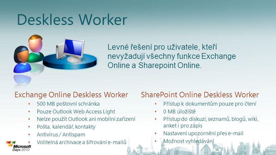 Deskless Worker Exchange Online Deskless Worker • 500 MB poštovní schránka • Pouze Outlook Web Access Light • Nelze použít Outlook ani mobilní zařízen