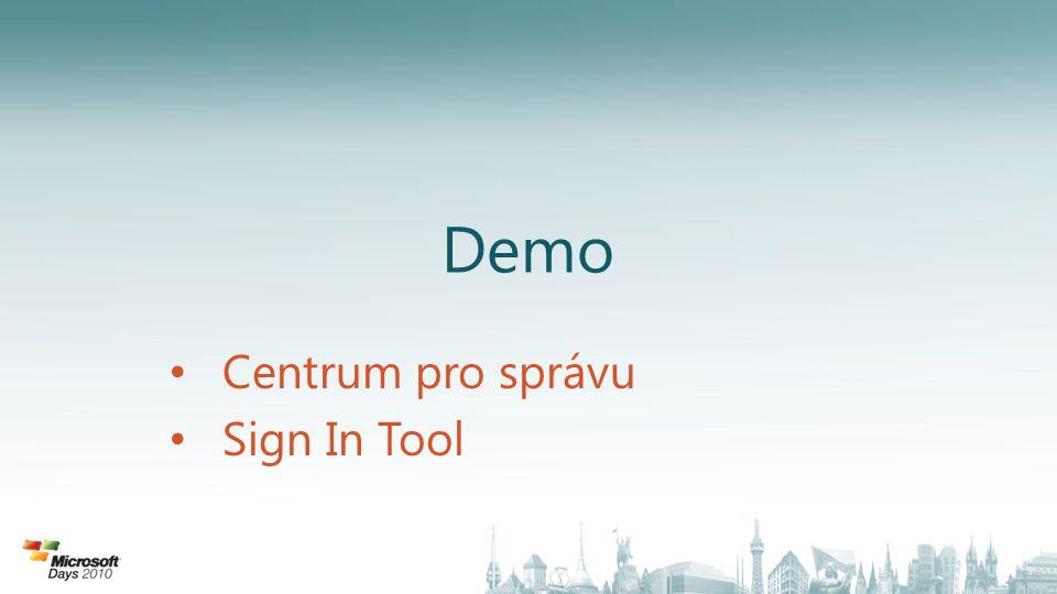 Demo • Centrum pro správu • Sign In Tool