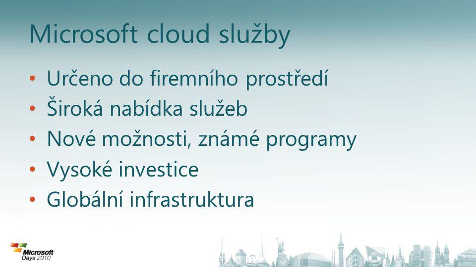 Microsoft cloud služby • Určeno do firemního prostředí • Široká nabídka služeb • Nové možnosti, známé programy • Vysoké investice • Globální infrastru