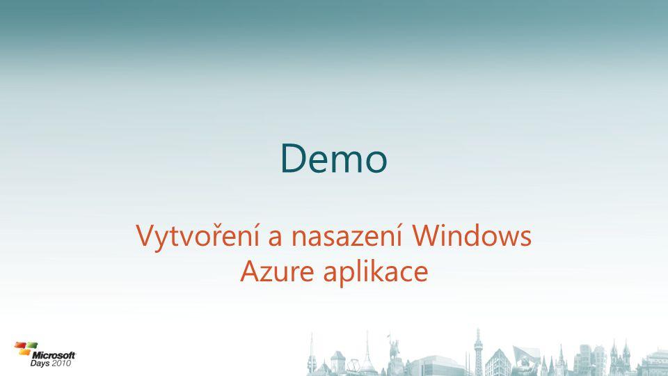 CÍL: BEZPEČNÉ PROPOJENÍ LOKÁLNÍCH A CLOUD APLIKACÍ • Windows Azure AppFabric zajištují konektivitu mezi lokálně a cloud provozovanými aplikacemi • Umožňuje integrovat aplikace na různých platformách • Zjednodušuje komunikaci napříč různými síťovými zařízeními • Přístup ke kódu aplikací řízen na úrovni identit a povolení Servisní Sběrnice Servisní sběrnice předává zprávy mezi připojenými aplikacemi.