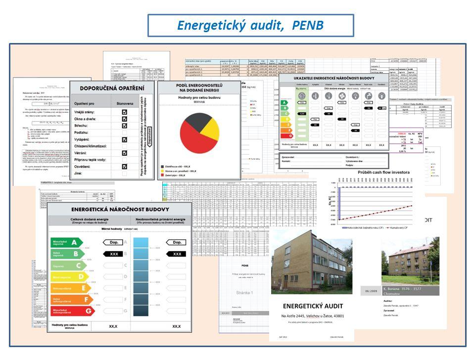 Co je to: Energetický audit Energetický posudek Průkaz energetické náročnosti budovy (PENB) (uvedeno dále jen velice, velice stručně a zjednodušeně) Energetický audit • Energetický audit budov a výrobních provozů je zásadní pro rozhodování o investicích.