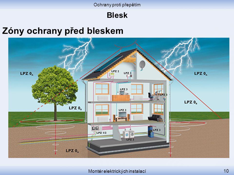 Ochrany proti přepětím Montér elektrických instalací 10 Zóny ochrany před bleskem