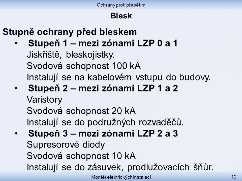 Ochrany proti přepětím Montér elektrických instalací 12 Stupně ochrany před bleskem •Stupeň 1 – mezi zónami LZP 0 a 1 Jiskřiště, bleskojistky. Svodová