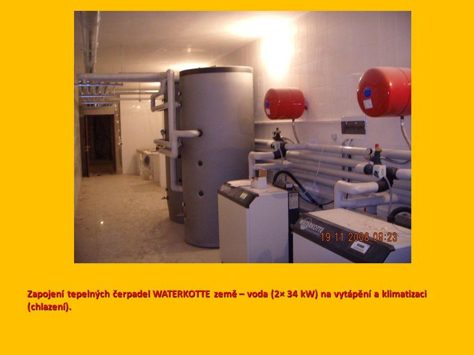 Zapojení tepelných čerpadel WATERKOTTE země – voda (2× 34 kW) na vytápění a klimatizaci (chlazení).