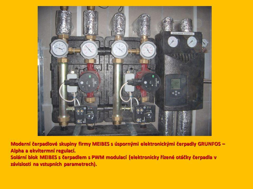 Moderní čerpadlové skupiny firmy MEIBES s úspornými elektronickými čerpadly GRUNFOS – Alpha a ekvitermní regulací.