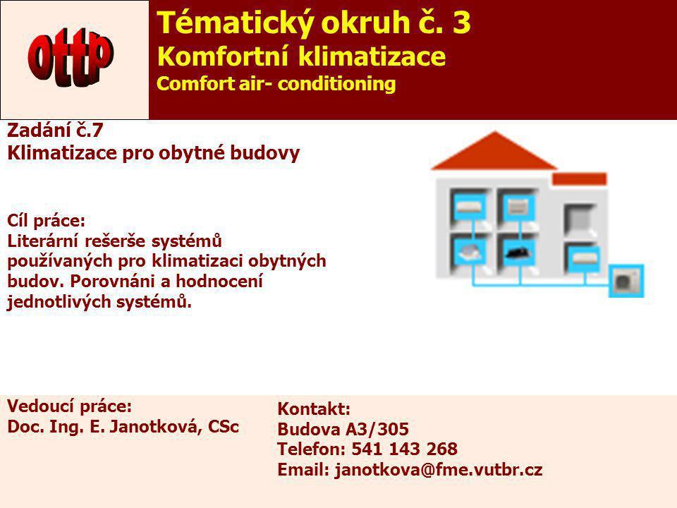 12 Zadání č.7 Klimatizace pro obytné budovy Cíl práce: Literární rešerše systémů používaných pro klimatizaci obytných budov. Porovnáni a hodnocení jed