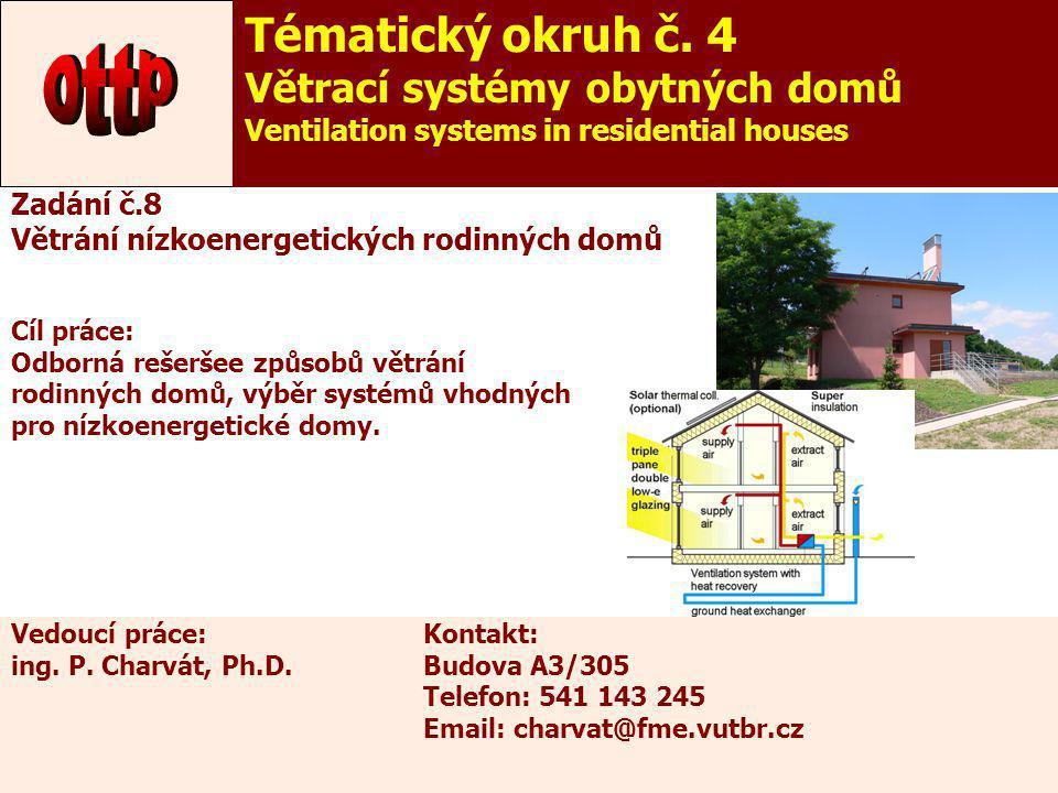 13 Zadání č.8 Větrání nízkoenergetických rodinných domů Cíl práce: Odborná rešeršee způsobů větrání rodinných domů, výběr systémů vhodných pro nízkoen