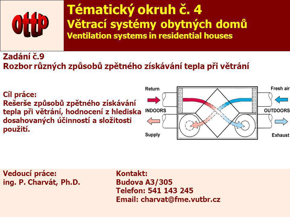 14 Zadání č.9 Rozbor různých způsobů zpětného získávání tepla při větrání Cíl práce: Rešerše způsobů zpětného získávání tepla při větrání, hodnocení z
