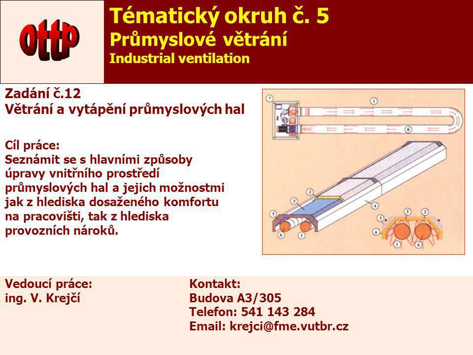 17 Zadání č.12 Větrání a vytápění průmyslových hal Cíl práce: Seznámit se s hlavními způsoby úpravy vnitřního prostředí průmyslových hal a jejich možn
