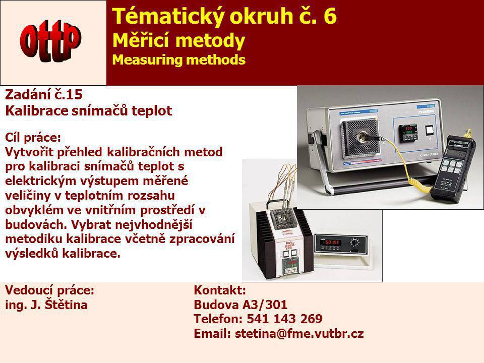 20 Zadání č.15 Kalibrace snímačů teplot Cíl práce: Vytvořit přehled kalibračních metod pro kalibraci snímačů teplot s elektrickým výstupem měřené veli
