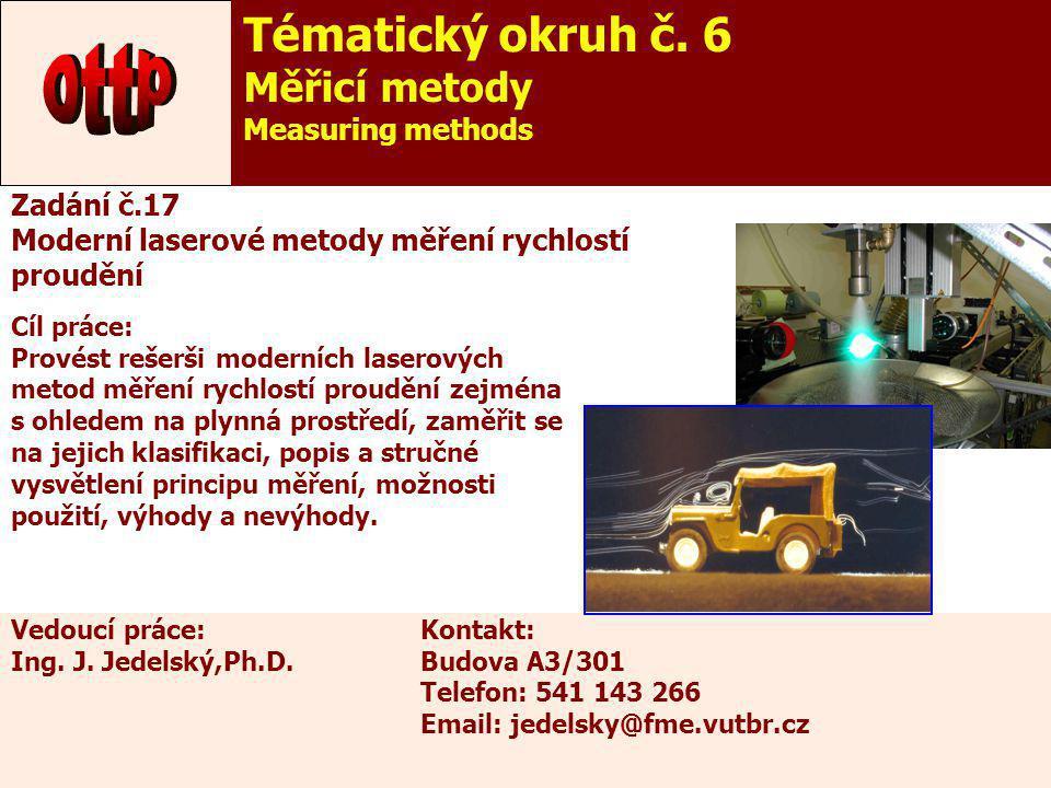 22 Cíl práce: Provést rešerši moderních laserových metod měření rychlostí proudění zejména s ohledem na plynná prostředí, zaměřit se na jejich klasifi