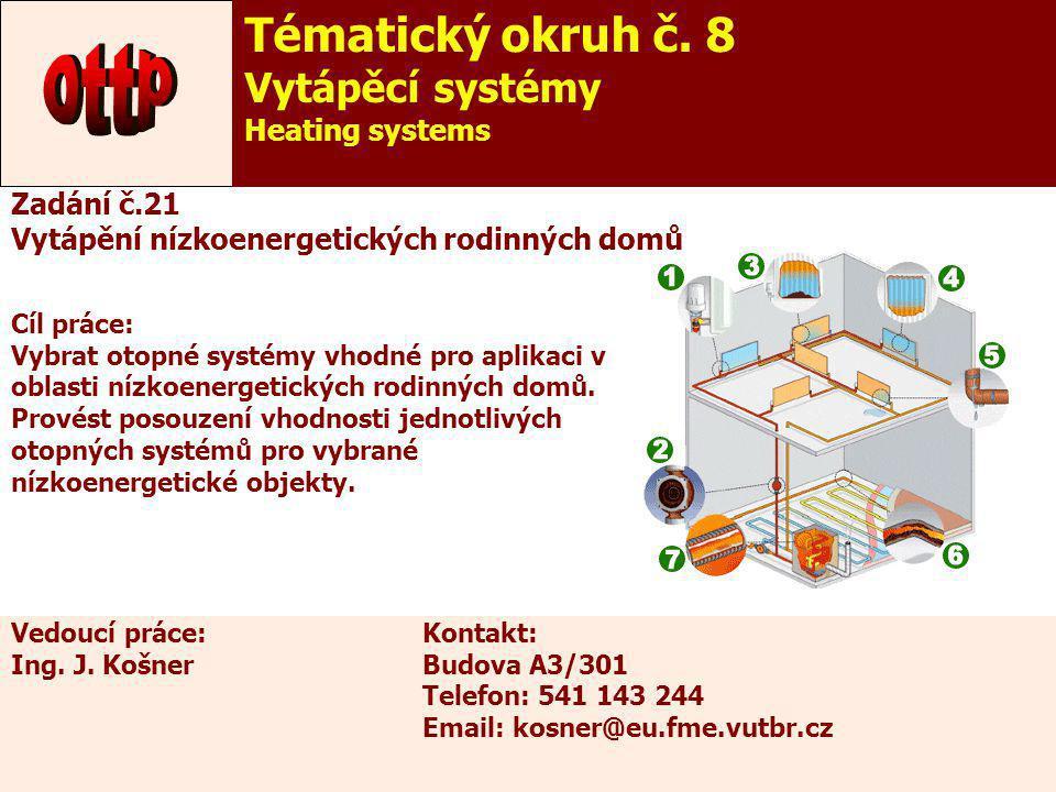 26 Zadání č.21 Vytápění nízkoenergetických rodinných domů Cíl práce: Vybrat otopné systémy vhodné pro aplikaci v oblasti nízkoenergetických rodinných