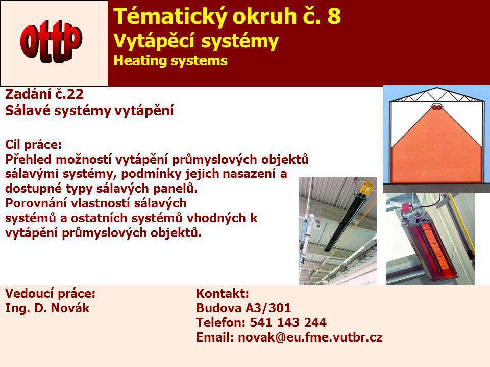 27 Zadání č.22 Sálavé systémy vytápění Cíl práce: Přehled možností vytápění průmyslových objektů sálavými systémy, podmínky jejich nasazení a dostupné