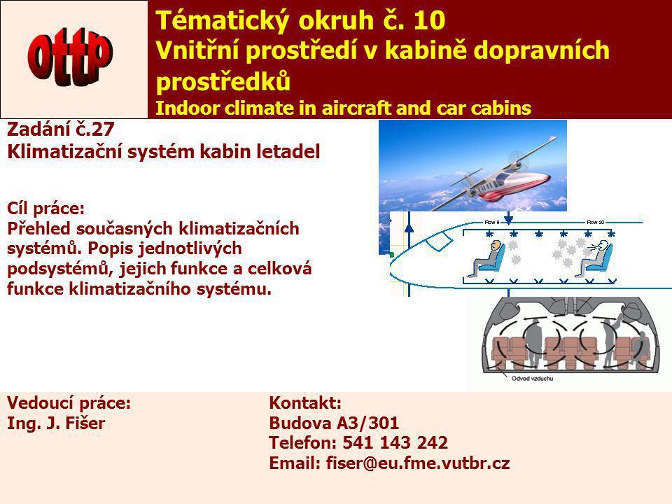 32 Tématický okruh č. 10 Vnitřní prostředí v kabině dopravních prostředků Indoor climate in aircraft and car cabins Zadání č.27 Klimatizační systém ka