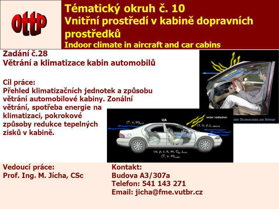 33 Zadání č.28 Větrání a klimatizace kabin automobilů Cíl práce: Přehled klimatizačních jednotek a způsobu větrání automobilové kabiny. Zonální větrán