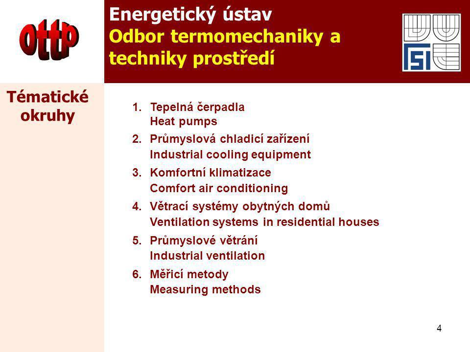 4 Energetický ústav Odbor termomechaniky a techniky prostředí 1.Tepelná čerpadla Heat pumps 2.Průmyslová chladicí zařízení Industrial cooling equipmen
