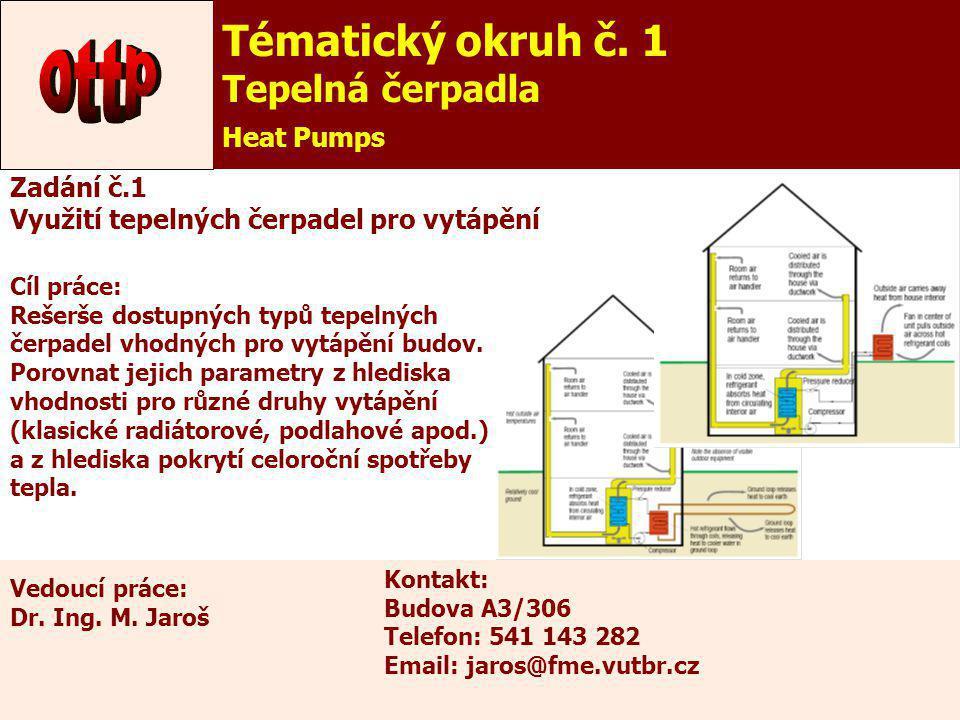 6 Tématický okruh č. 1 Tepelná čerpadla Heat Pumps Zadání č.1 Využití tepelných čerpadel pro vytápění Cíl práce: Rešerše dostupných typů tepelných čer