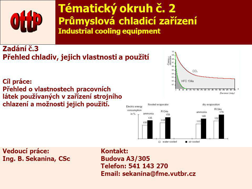 8 Zadání č.3 Přehled chladiv, jejich vlastnosti a použití Cíl práce: Přehled o vlastnostech pracovních látek používaných v zařízení strojního chlazení