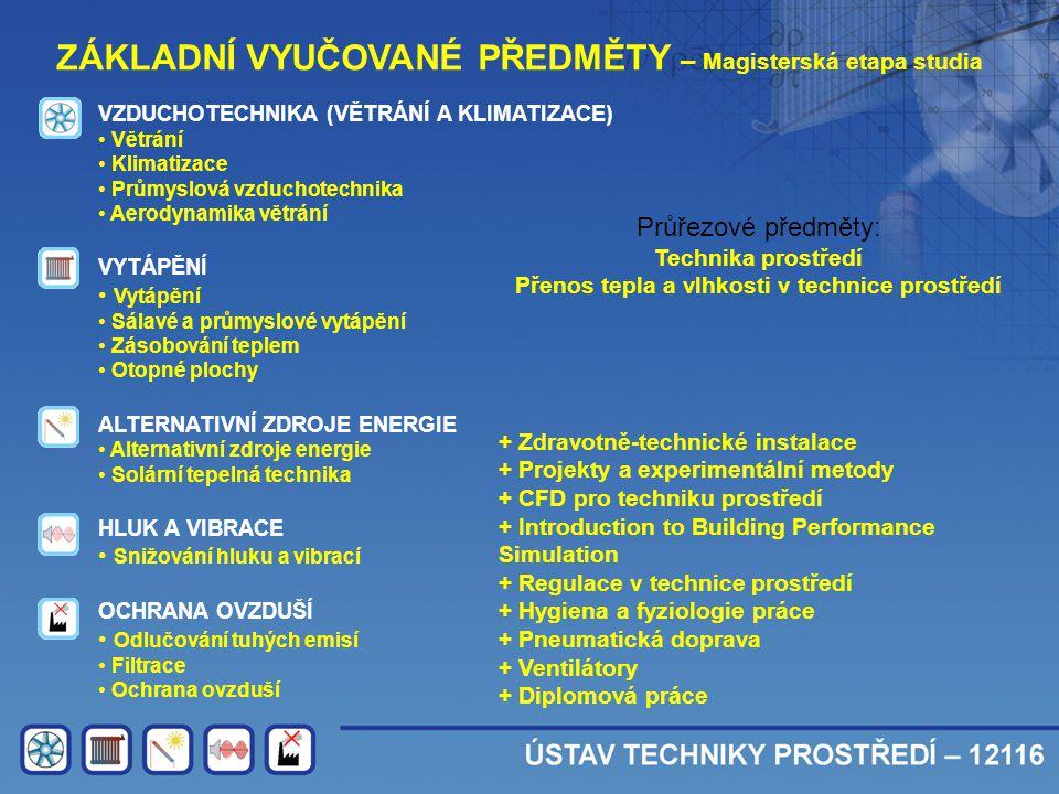 ZÁKLADNÍ VYUČOVANÉ PŘEDMĚTY – Magisterská etapa studia VZDUCHOTECHNIKA (VĚTRÁNÍ A KLIMATIZACE) • Větrání • Klimatizace • Průmyslová vzduchotechnika •