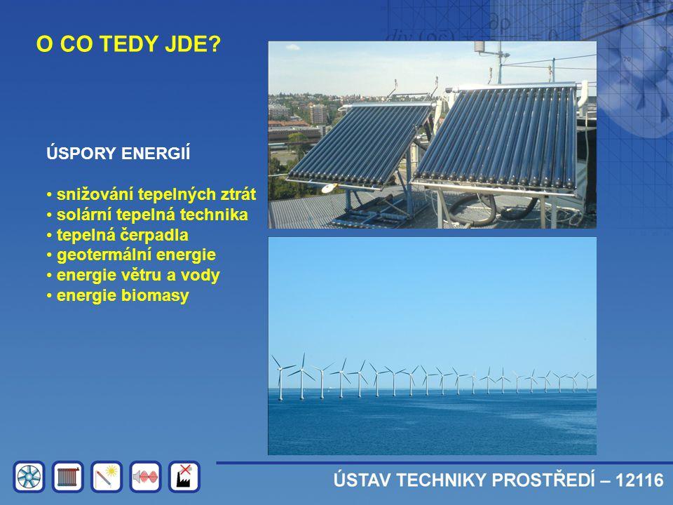 O CO TEDY JDE? ÚSPORY ENERGIÍ • snižování tepelných ztrát • solární tepelná technika • tepelná čerpadla • geotermální energie • energie větru a vody •