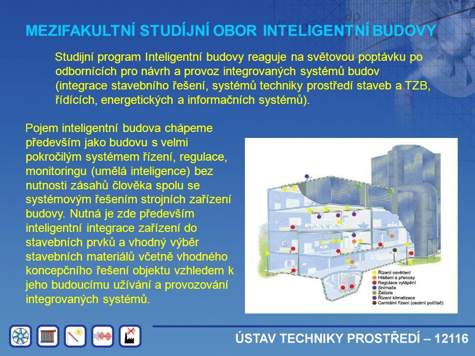 MEZIFAKULTNÍ STUDÍJNÍ OBOR INTELIGENTNÍ BUDOVY Studijní program Inteligentní budovy reaguje na světovou poptávku po odbornících pro návrh a provoz int