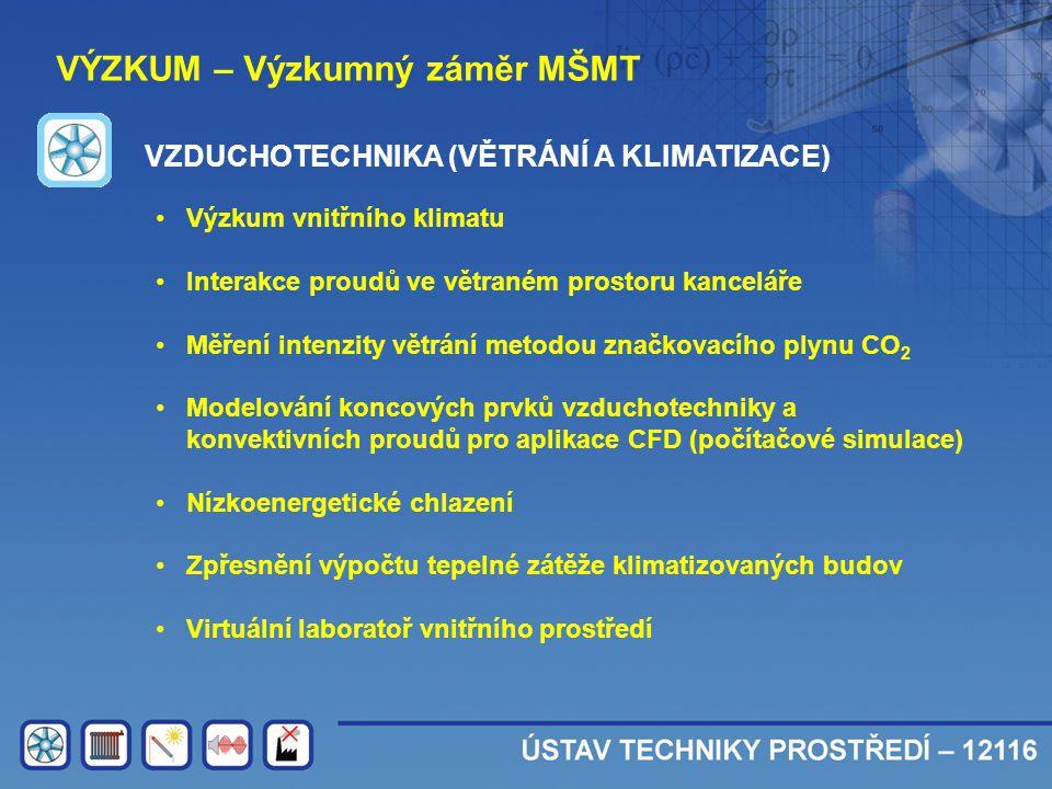 VÝZKUM – Výzkumný záměr MŠMT VZDUCHOTECHNIKA (VĚTRÁNÍ A KLIMATIZACE) •Výzkum vnitřního klimatu •Interakce proudů ve větraném prostoru kanceláře •Měřen
