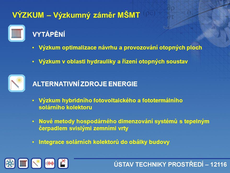 VÝZKUM – Výzkumný záměr MŠMT •Výzkum optimalizace návrhu a provozování otopných ploch •Výzkum v oblasti hydrauliky a řízení otopných soustav VYTÁPĚNÍ