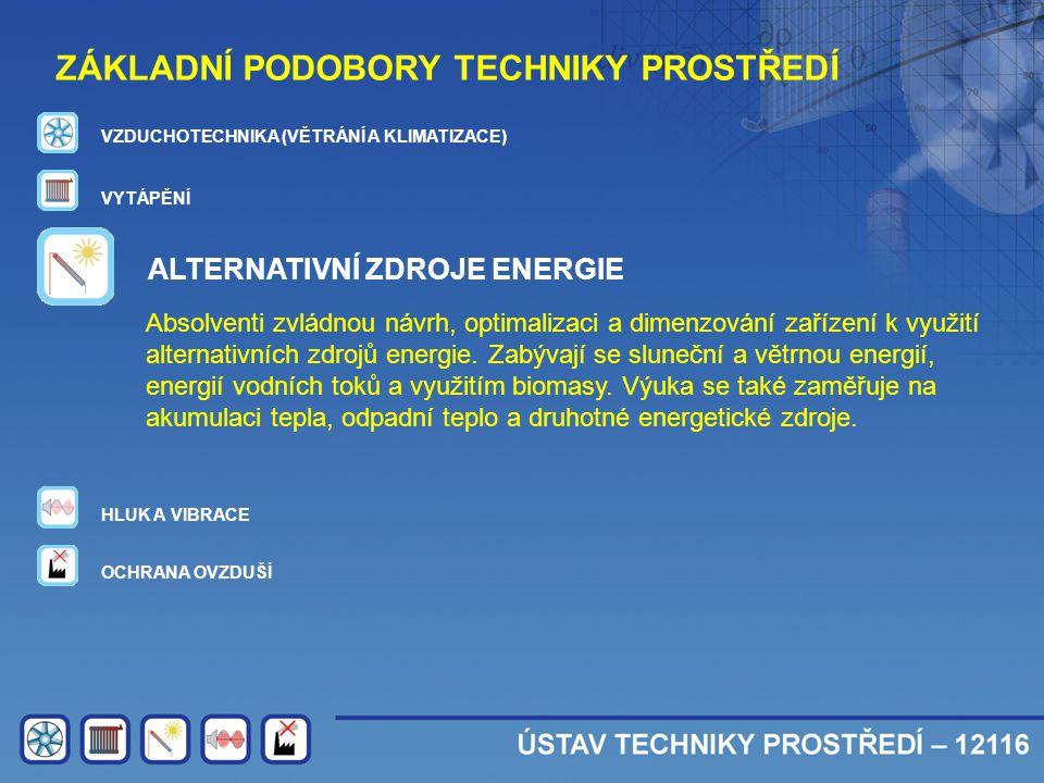 ZÁKLADNÍ PODOBORY TECHNIKY PROSTŘEDÍ VZDUCHOTECHNIKA (VĚTRÁNÍ A KLIMATIZACE) VYTÁPĚNÍ ALTERNATIVNÍ ZDROJE ENERGIE HLUK A VIBRACE OCHRANA OVZDUŠÍ Absol