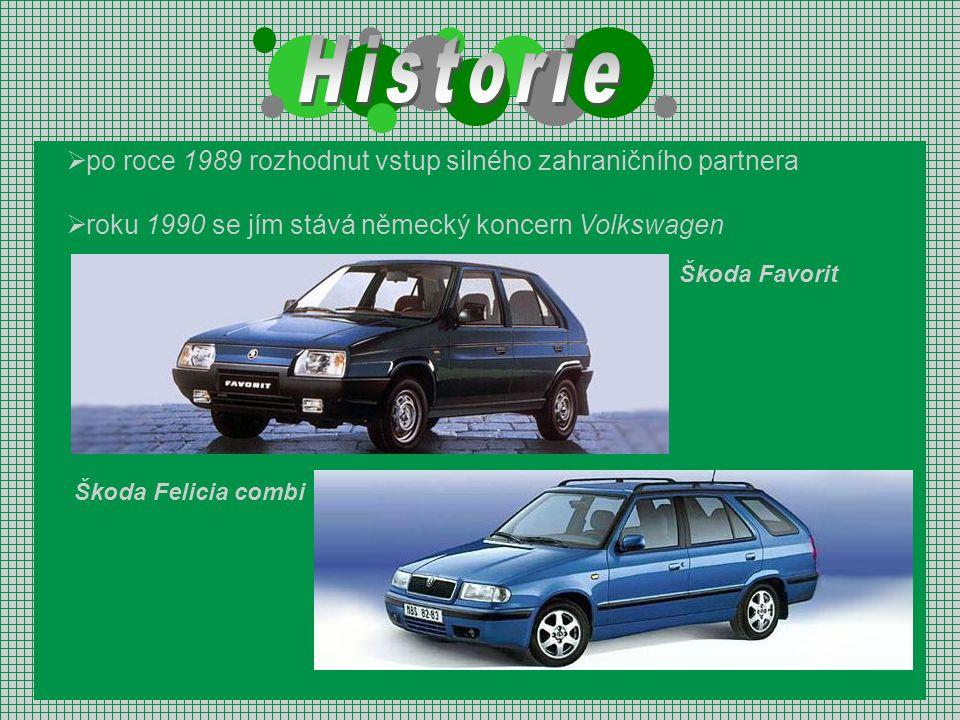  po roce 1989 rozhodnut vstup silného zahraničního partnera  roku 1990 se jím stává německý koncern Volkswagen Škoda Felicia combi Škoda Favorit