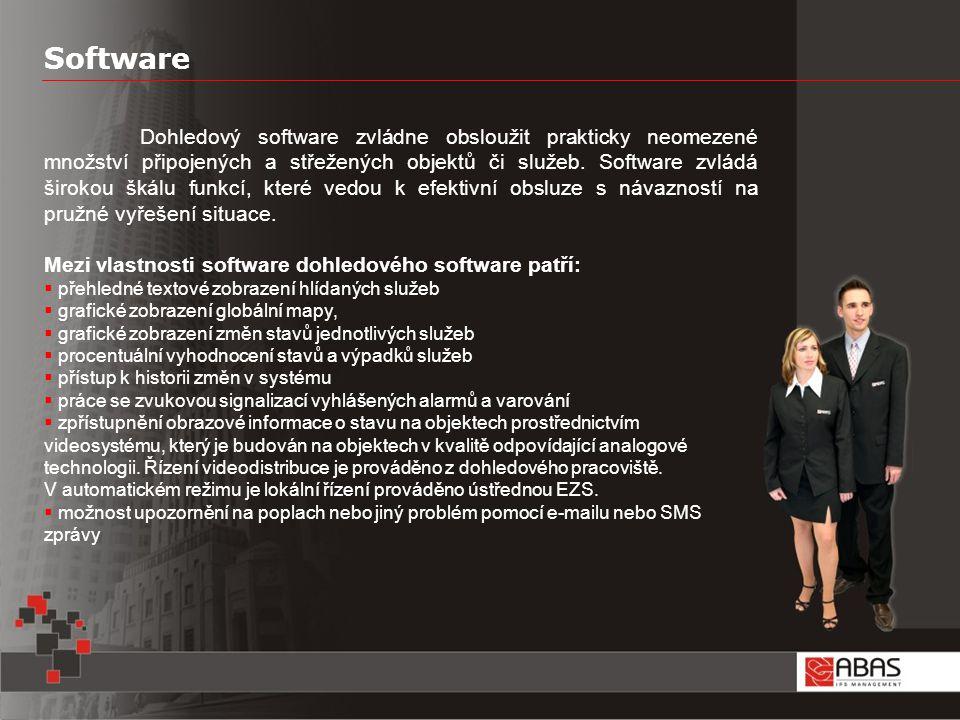 Software Dohledový software zvládne obsloužit prakticky neomezené množství připojených a střežených objektů či služeb.