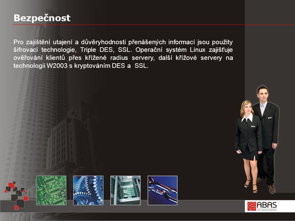 Bezpečnost Pro zajištění utajení a důvěryhodnosti přenášených informací jsou použity šifrovací technologie, Triple DES, SSL.