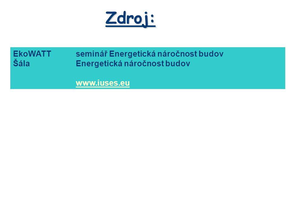 Zdroj: EkoWATTseminář Energetická náročnost budov ŠálaEnergetická náročnost budov www.iuses.eu Materiál je určen pouze pro studijní účely