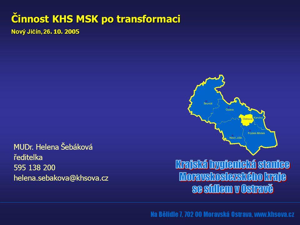 Na Bělidle 7, 702 00 Moravská Ostrava, www.khsova.cz MUDr. Helena Šebáková ředitelka 595 138 200 helena.sebakova@khsova.cz Činnost KHS MSK po transfor