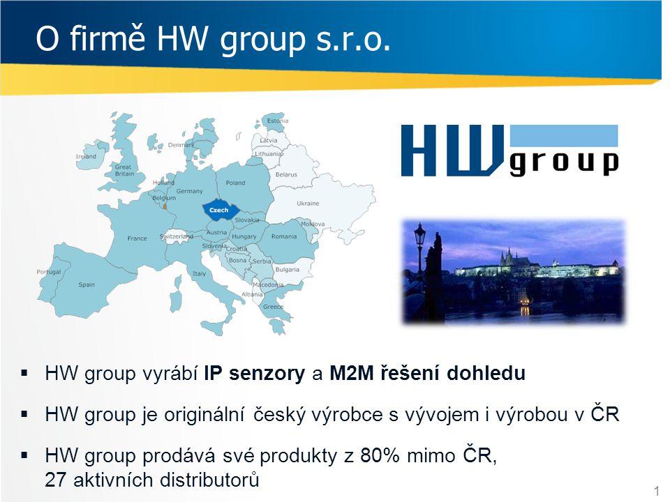 O firmě HW group s.r.o.  HW group vyrábí IP senzory a M2M řešení dohledu  HW group je originální český výrobce s vývojem i výrobou v ČR  HW group p