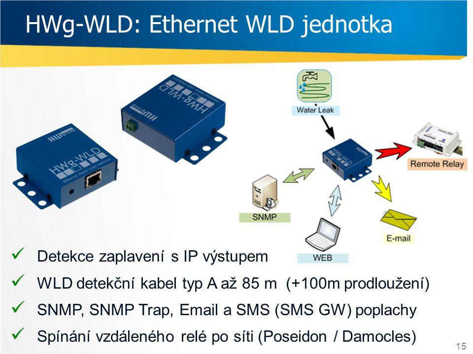 15 HWg-WLD: Ethernet WLD jednotka  Detekce zaplavení s IP výstupem  WLD detekční kabel typ A až 85 m (+100m prodloužení)  SNMP, SNMP Trap, Email a