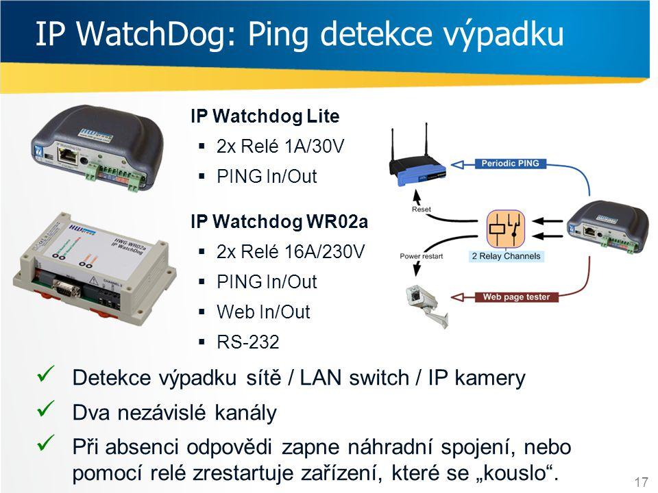 17 IP WatchDog: Ping detekce výpadku  Detekce výpadku sítě / LAN switch / IP kamery  Dva nezávislé kanály  Při absenci odpovědi zapne náhradní spoj
