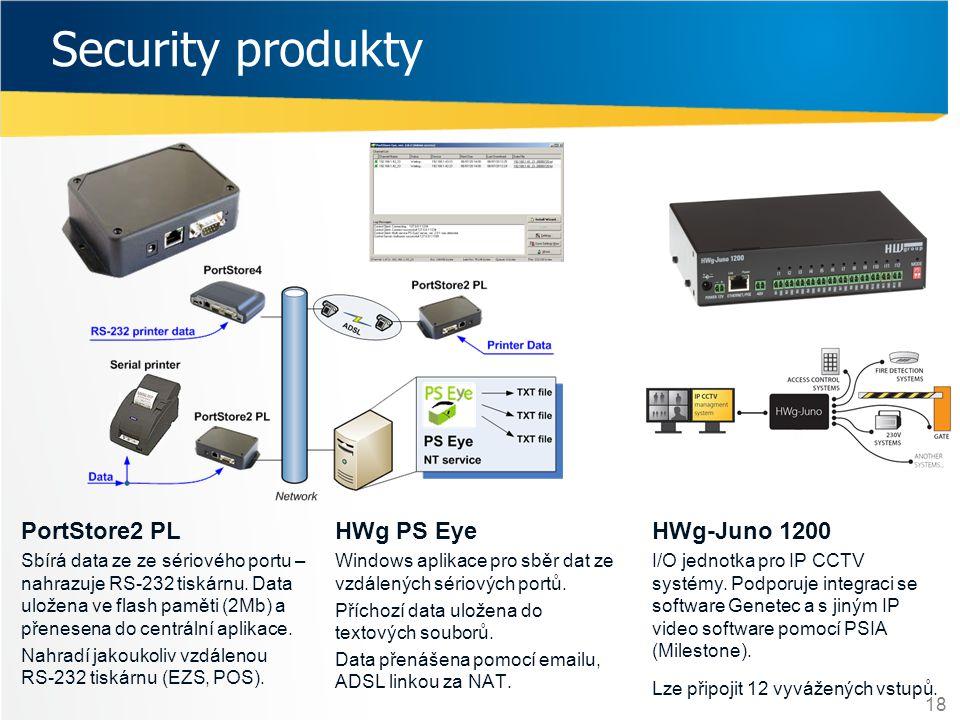 18 Security produkty HWg PS Eye Windows aplikace pro sběr dat ze vzdálených sériových portů. Příchozí data uložena do textových souborů. Data přenášen